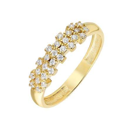 Zirkon Taşlı Flower Tasarım Gold Renk 925 Ayar Gümüş Bayan Yüzük - Thumbnail