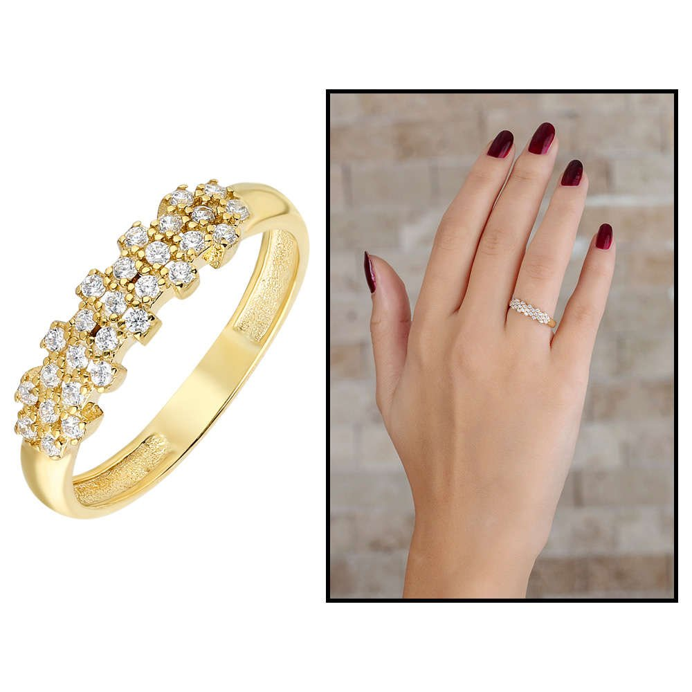 Zirkon Taşlı Flower Tasarım Gold Renk 925 Ayar Gümüş Bayan Yüzük