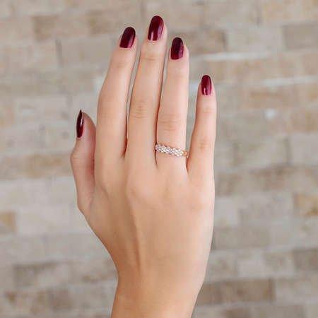 Zirkon Taşlı Flower Tasarım Rose Renk 925 Ayar Gümüş Bayan Yüzük - Thumbnail