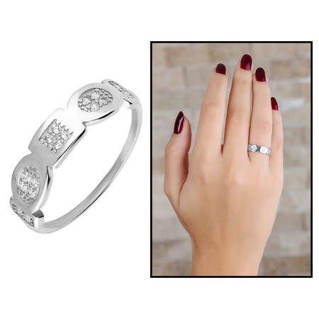 Zirkon Taşlı Geometrik Tasarım 925 Ayar Gümüş Bayan Yüzük - Thumbnail