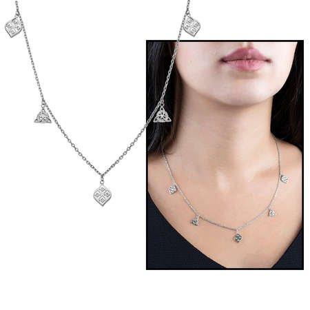 Zirkon Taşlı Geometrik Tasarım 925 Ayar Gümüş Şans Kolyesi - Thumbnail