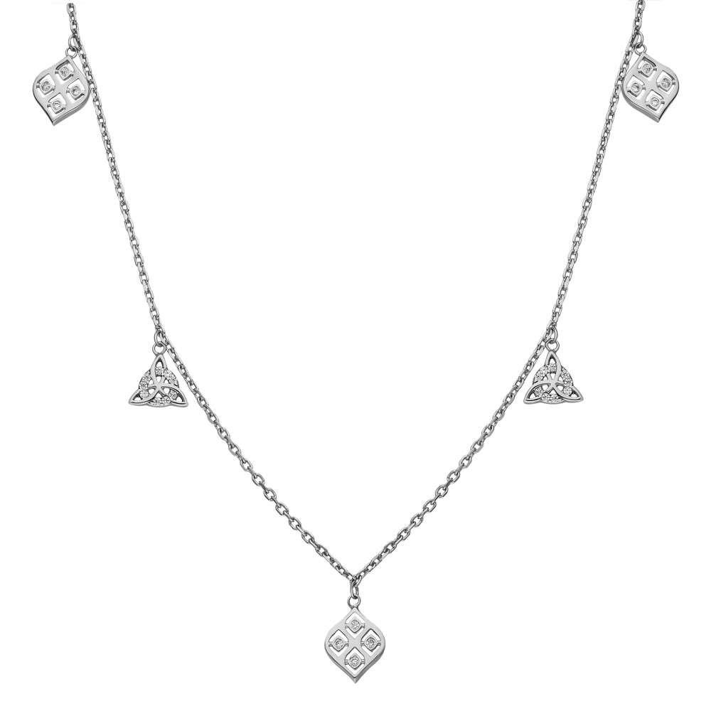 Zirkon Taşlı Geometrik Tasarım 925 Ayar Gümüş Şans Kolyesi