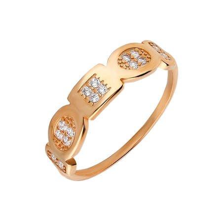 Zirkon Taşlı Geometrik Tasarım Rose Renk 925 Ayar Gümüş Bayan Yüzük - Thumbnail