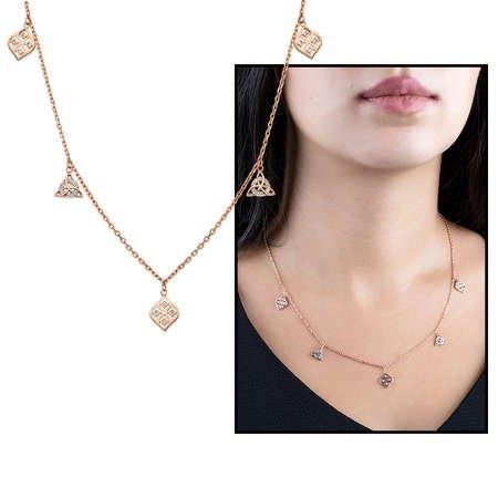 Zirkon Taşlı Geometrik Tasarım Rose Renk 925 Ayar Gümüş Şans Kolyesi - Thumbnail