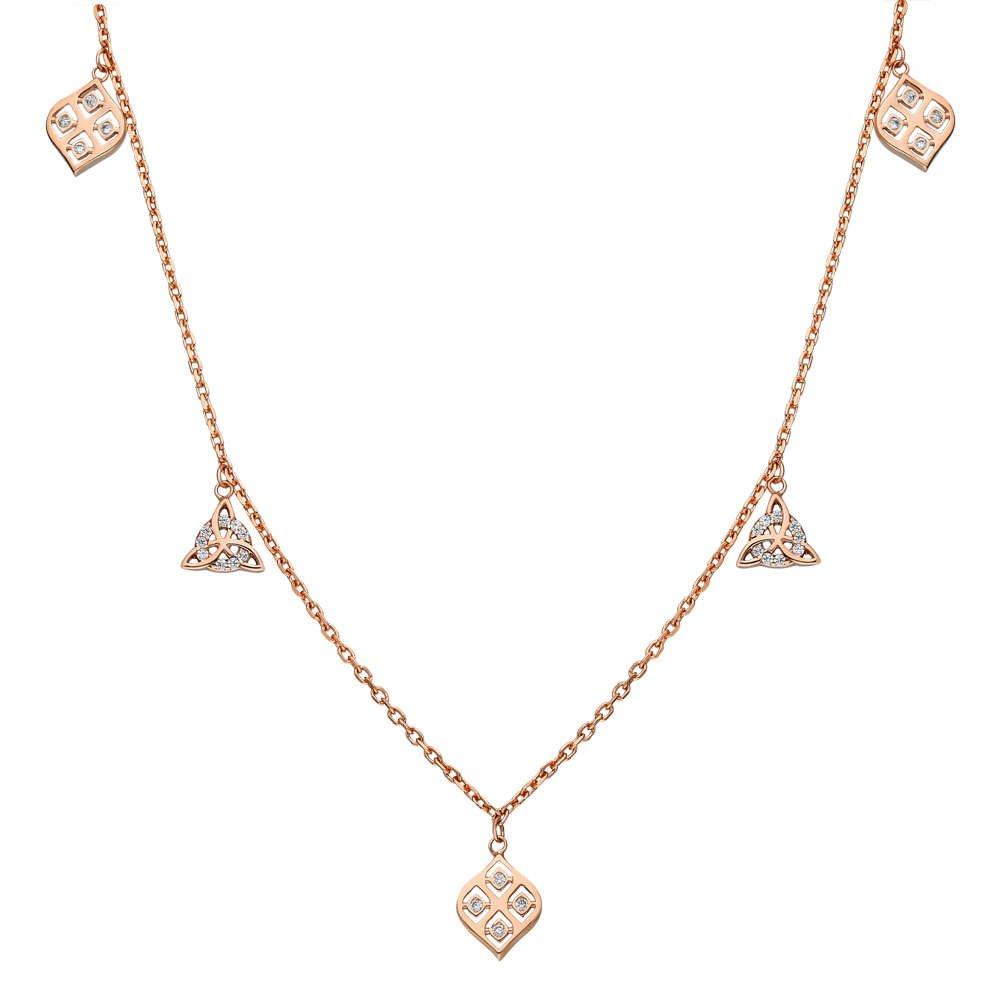 Zirkon Taşlı Geometrik Tasarım Rose Renk 925 Ayar Gümüş Şans Kolyesi