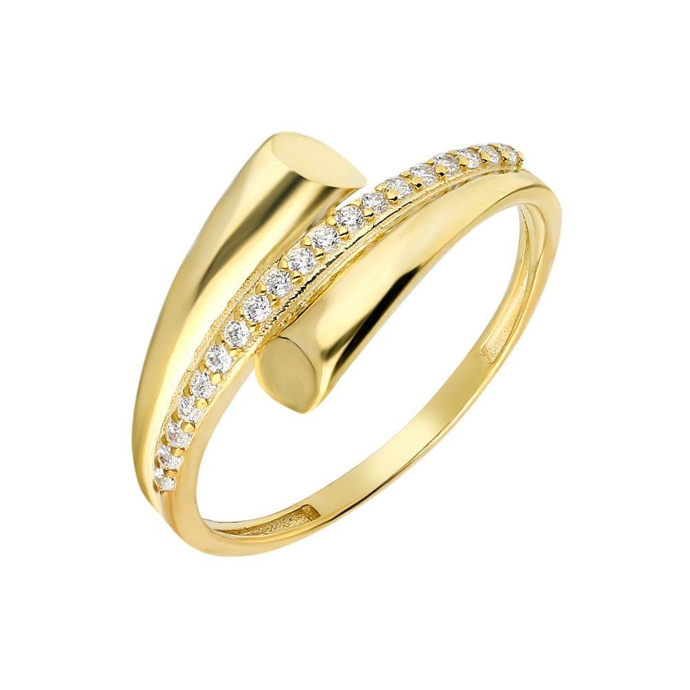 Zirkon Taşlı Helezon Tasarım Gold Renk 925 Ayar Gümüş Bayan Yüzük