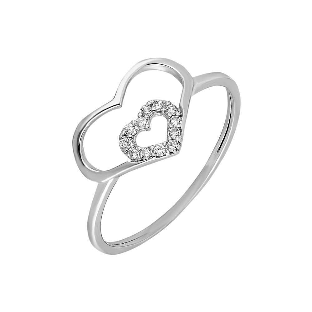 Zirkon Taşlı İç İçe Kalp Tasarım 925 Ayar Gümüş Bayan Yüzük