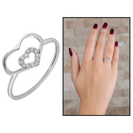 Zirkon Taşlı İç İçe Kalp Tasarım 925 Ayar Gümüş Bayan Yüzük - Thumbnail