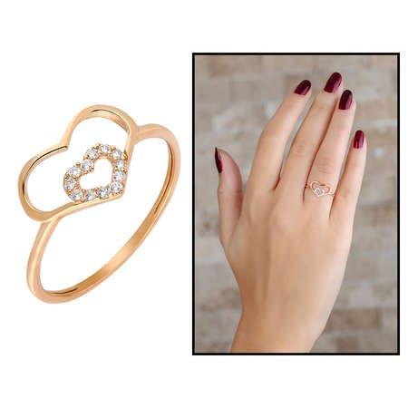 Zirkon Taşlı İç İçe Kalp Tasarım Rose Renk 925 Ayar Gümüş Bayan Yüzük - Thumbnail