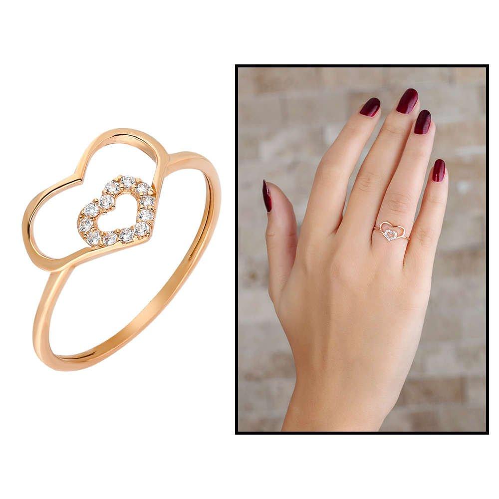 Zirkon Taşlı İç İçe Kalp Tasarım Rose Renk 925 Ayar Gümüş Bayan Yüzük