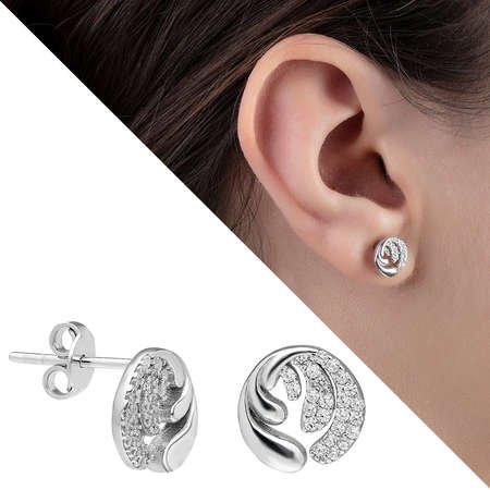 Zirkon Taşlı İçiçe Dalga Tasarım 925 Ayar Gümüş Küpe - Thumbnail
