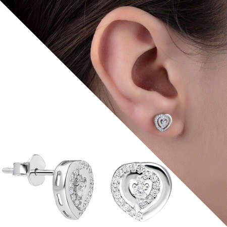 Zirkon Taşlı İçiçe Kalp Tasarım 925 Ayar Gümüş Küpe - Thumbnail