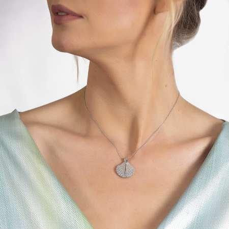 Zirkon Taşlı İstiridye Tasarım Kişiye Özel İsim Yazılı 925 Ayar Gümüş Kadın Kolye - Thumbnail
