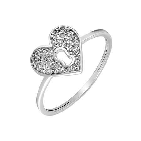 Zirkon Taşlı Kalbimin Kilidi Tasarım 925 Ayar Gümüş Bayan Yüzük - Thumbnail