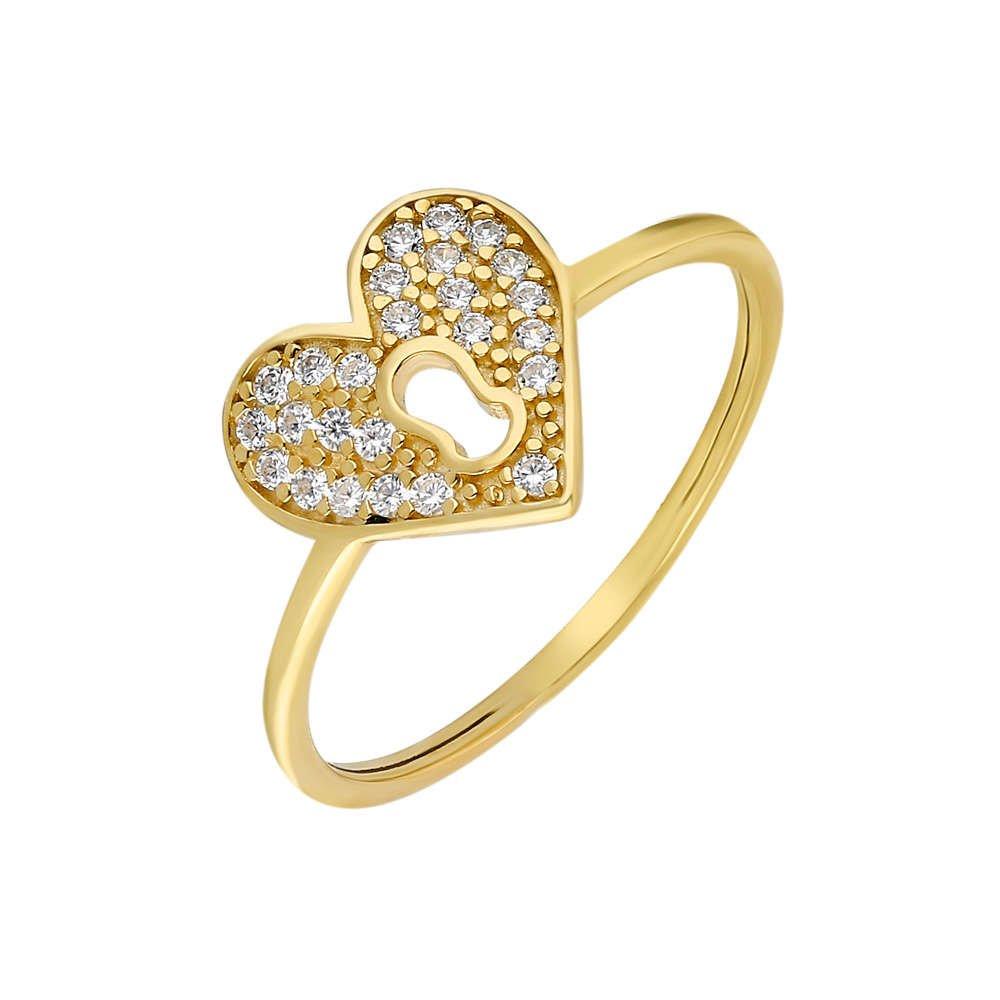Zirkon Taşlı Kalbimin Kilidi Tasarım Gold Renk 925 Ayar Gümüş Bayan Yüzük