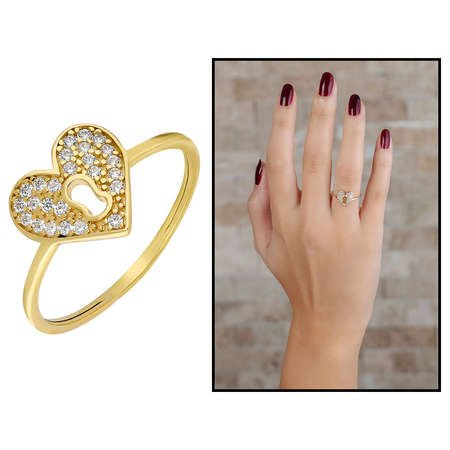 Zirkon Taşlı Kalbimin Kilidi Tasarım Gold Renk 925 Ayar Gümüş Bayan Yüzük - Thumbnail