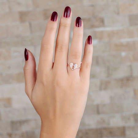 Zirkon Taşlı Kalbimin Kilidi Tasarım Rose Renk 925 Ayar Gümüş Bayan Yüzük - Thumbnail