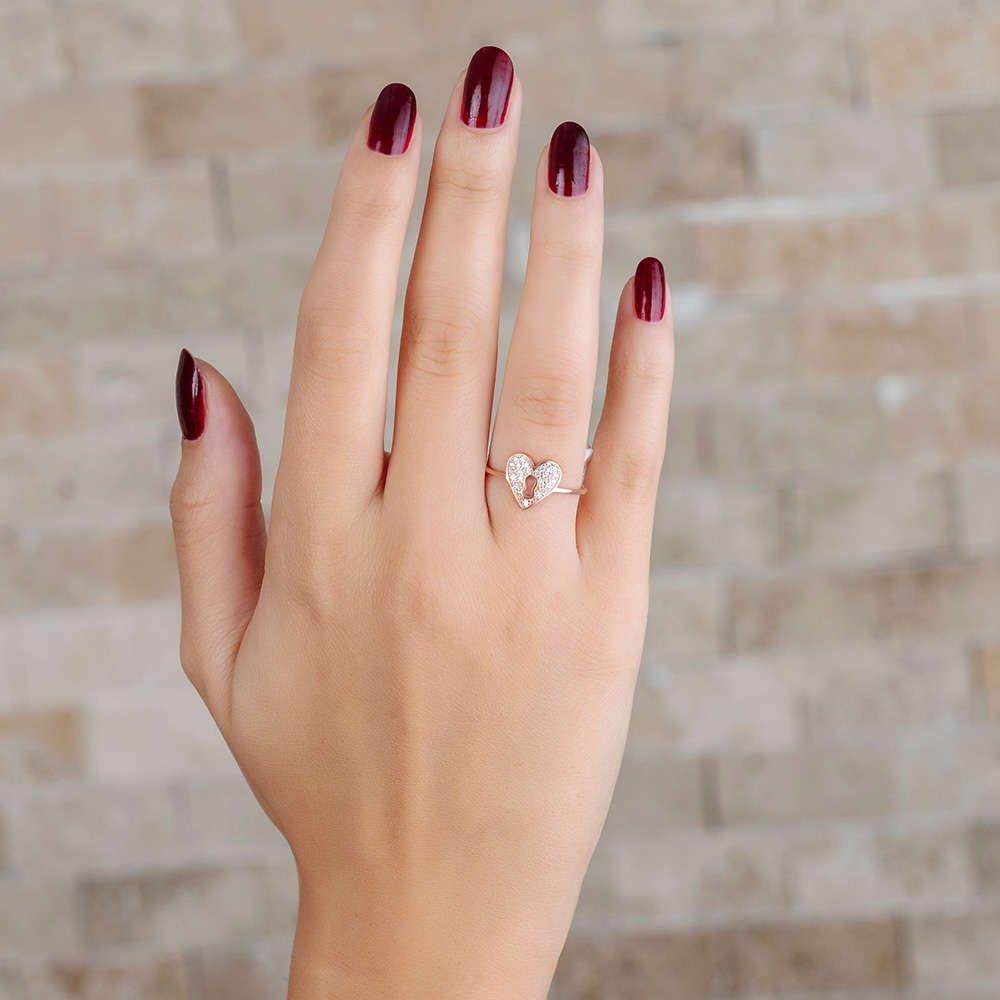 Zirkon Taşlı Kalbimin Kilidi Tasarım Rose Renk 925 Ayar Gümüş Bayan Yüzük