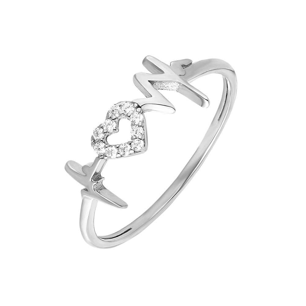 Zirkon Taşlı Kalp-Ritim Tasarım 925 Ayar Gümüş Bayan Yüzük