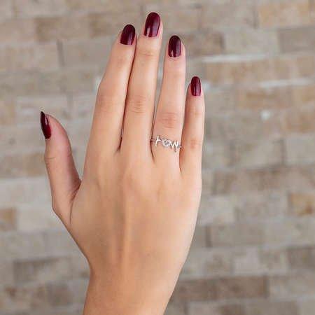 Zirkon Taşlı Kalp-Ritim Tasarım 925 Ayar Gümüş Bayan Yüzük - Thumbnail