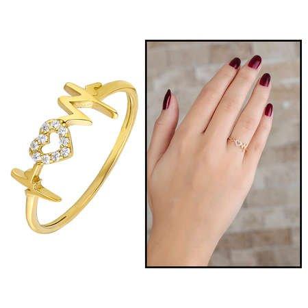 Zirkon Taşlı Kalp-Ritim Tasarım Gold Renk 925 Ayar Gümüş Bayan Yüzük - Thumbnail