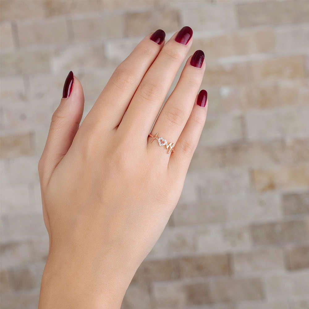 Zirkon Taşlı Kalp-Ritim Tasarım Rose Renk 925 Ayar Gümüş Bayan Yüzük