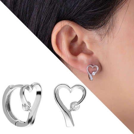 Zirkon Taşlı Kalp Tasarım 925 Ayar Gümüş Bayan Küpe - Thumbnail