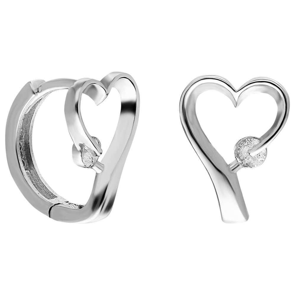 Zirkon Taşlı Kalp Tasarım 925 Ayar Gümüş Bayan Küpe