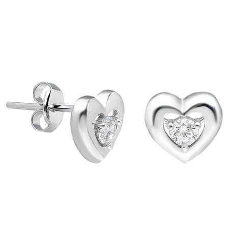 Zirkon Taşlı Kalp Tasarım 925 Ayar Gümüş Küpe - Thumbnail
