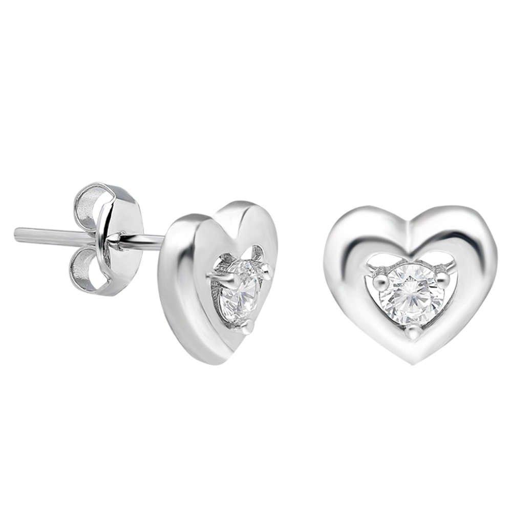 Zirkon Taşlı Kalp Tasarım 925 Ayar Gümüş Küpe
