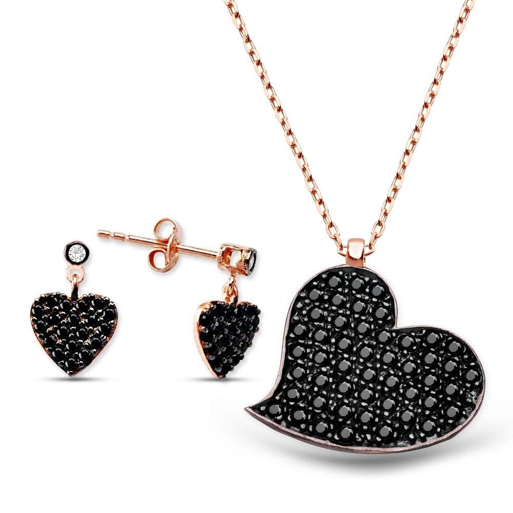 Zirkon Taşlı Kalp Tasarım Gümüş Küpe Kolye Kombini