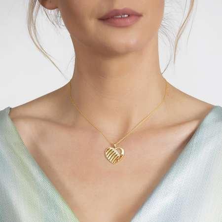Zirkon Taşlı Kalp Tasarım Kişiye Özel İsimler Yazılı Gold Renk 925 Ayar Kolye - Thumbnail