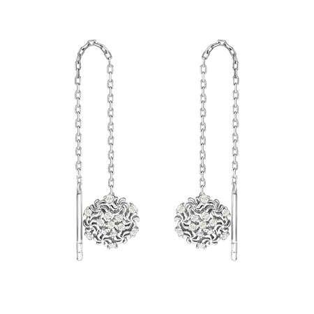 Zirkon Taşlı Kar Tanesi 925 Ayar Gümüş Sallantılı Küpe - Thumbnail