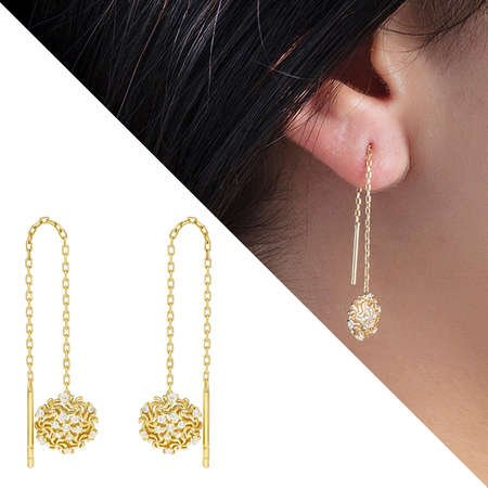 Zirkon Taşlı Kar Tanesi Gold Renk 925 Ayar Gümüş Sallantılı Küpe - Thumbnail
