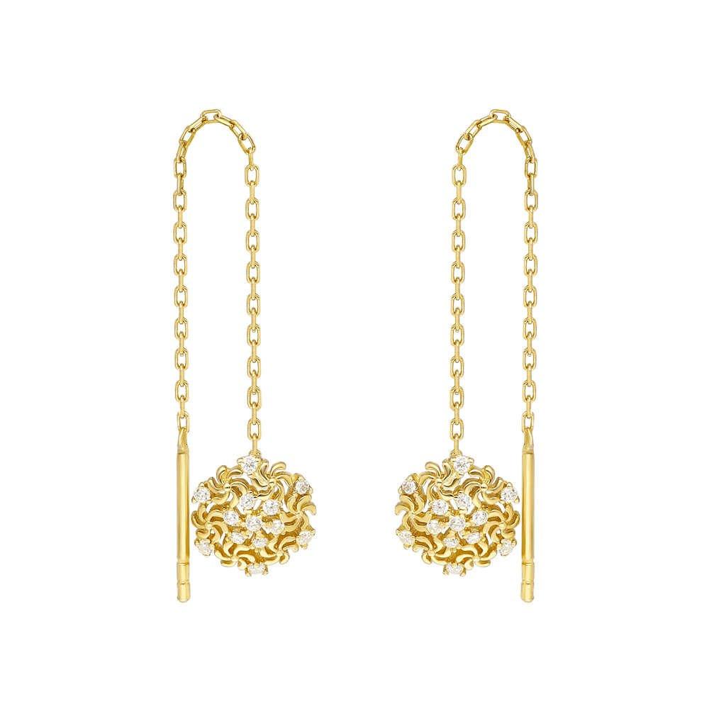 Zirkon Taşlı Kar Tanesi Gold Renk 925 Ayar Gümüş Sallantılı Küpe