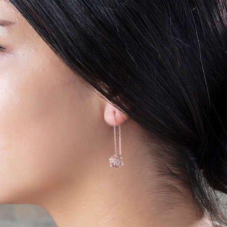 Zirkon Taşlı Kar Tanesi Rose Renk 925 Ayar Gümüş Sallantılı Küpe - Thumbnail