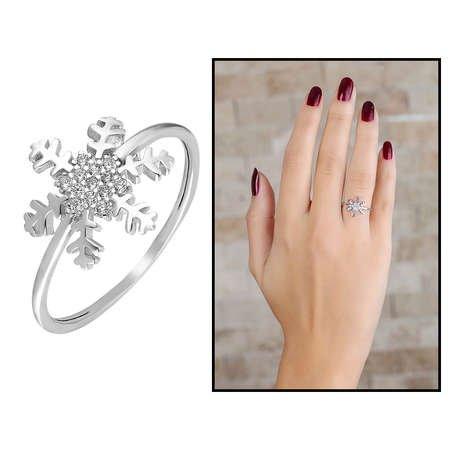Zirkon Taşlı Kar Tanesi Tasarım 925 Ayar Gümüş Bayan Yüzük - Thumbnail