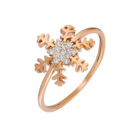 Zirkon Taşlı Kar Tanesi Tasarım Rose Renk 925 Ayar Gümüş Bayan Yüzük - Thumbnail