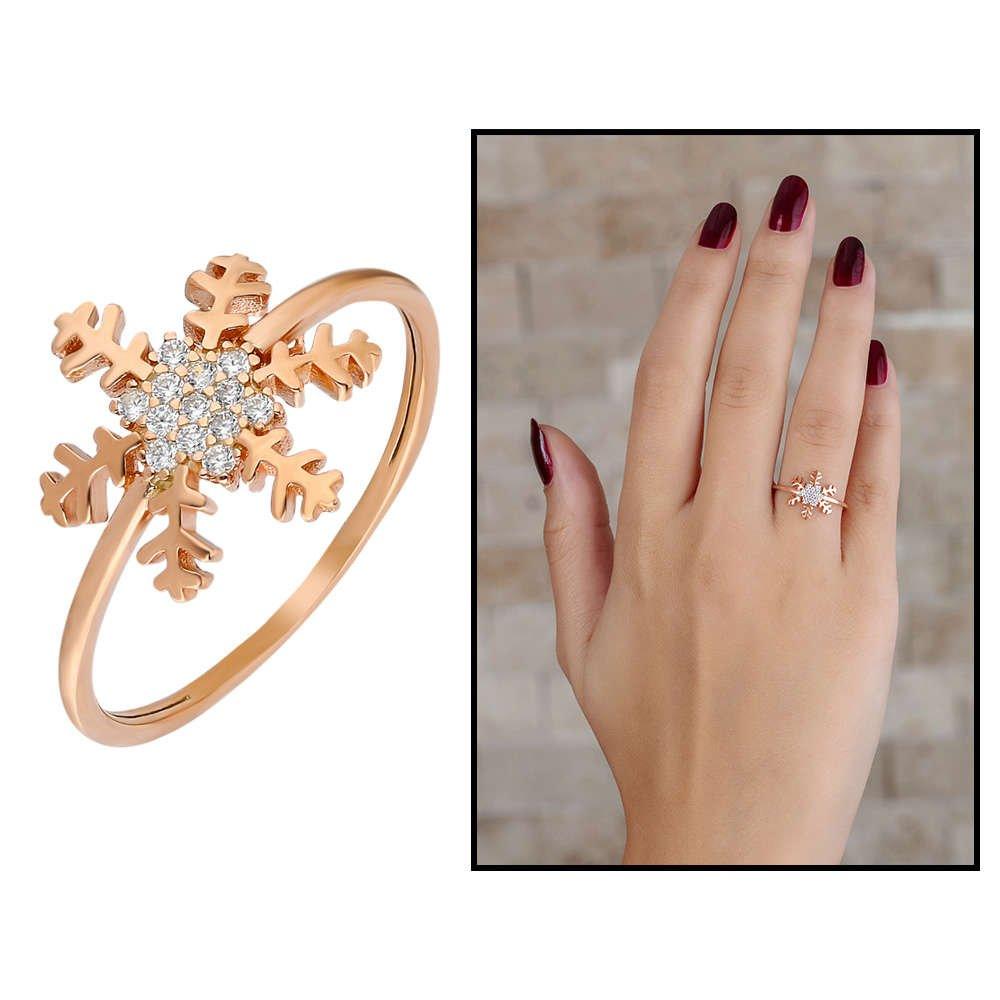 Zirkon Taşlı Kar Tanesi Tasarım Rose Renk 925 Ayar Gümüş Bayan Yüzük