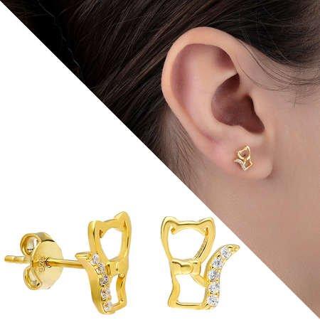 Zirkon Taşlı Kedi Tasarım Gold Renk 925 Ayar Gümüş Küpe - Thumbnail