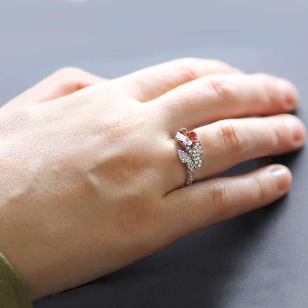 Zirkon Taşlı Kelebek-Kırmızı Çiçek Tasarım 925 Ayar Gümüş Bayan Yüzük