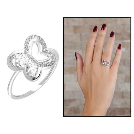 Zirkon Taşlı Kelebek Tasarım 925 Ayar Gümüş Bayan Yüzük - Thumbnail
