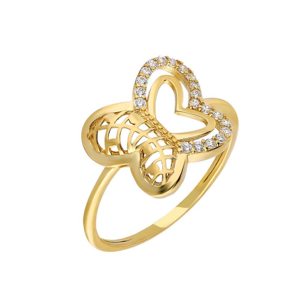 Zirkon Taşlı Kelebek Tasarım Gold Renk 925 Ayar Gümüş Bayan Yüzük