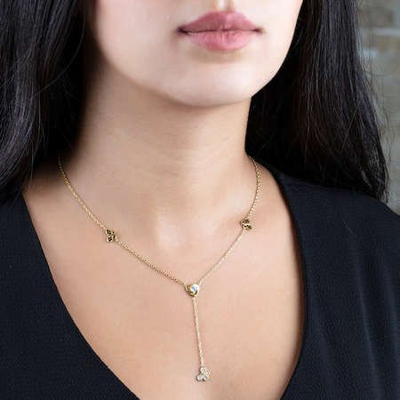 Zirkon Taşlı Kelebek Tasarım Gold Renk 925 Ayar Gümüş Şans Kolyesi - Thumbnail