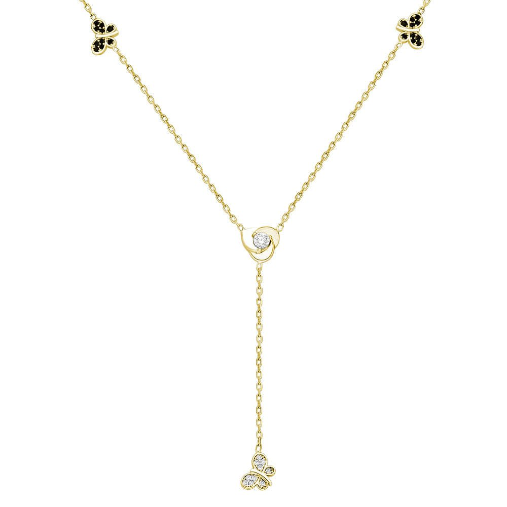 Zirkon Taşlı Kelebek Tasarım Gold Renk 925 Ayar Gümüş Şans Kolyesi
