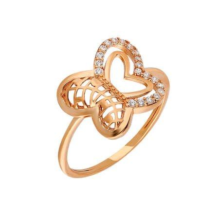 Zirkon Taşlı Kelebek Tasarım Rose Renk 925 Ayar Gümüş Bayan Yüzük - Thumbnail