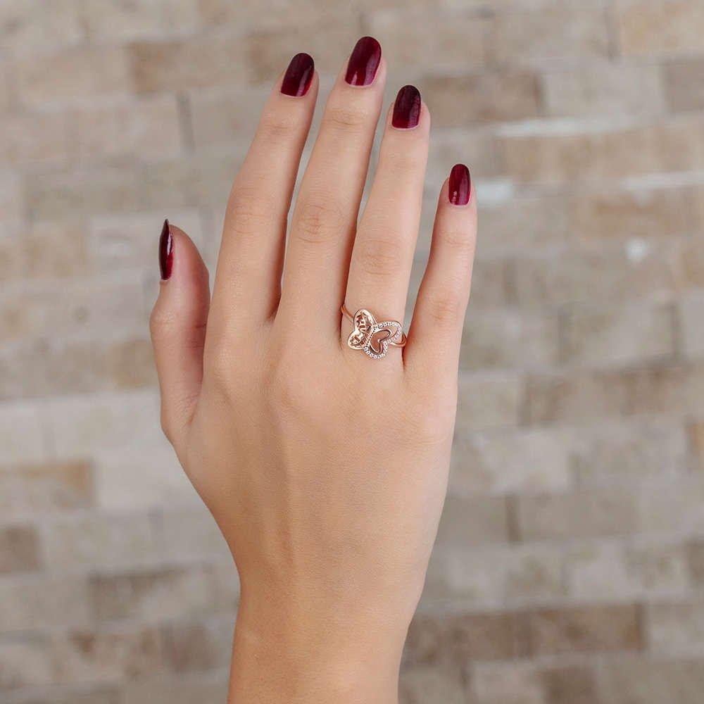 Zirkon Taşlı Kelebek Tasarım Rose Renk 925 Ayar Gümüş Bayan Yüzük