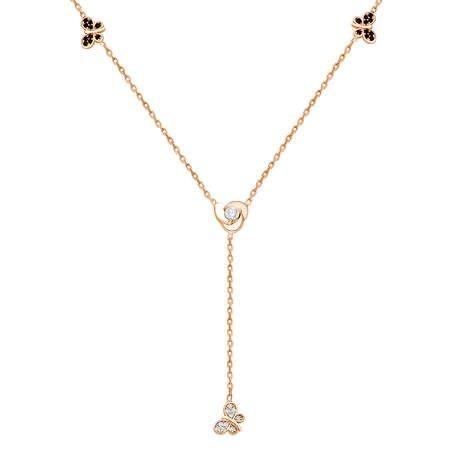 Zirkon Taşlı Kelebek Tasarım Rose Renk 925 Ayar Gümüş Şans Kolyesi - Thumbnail