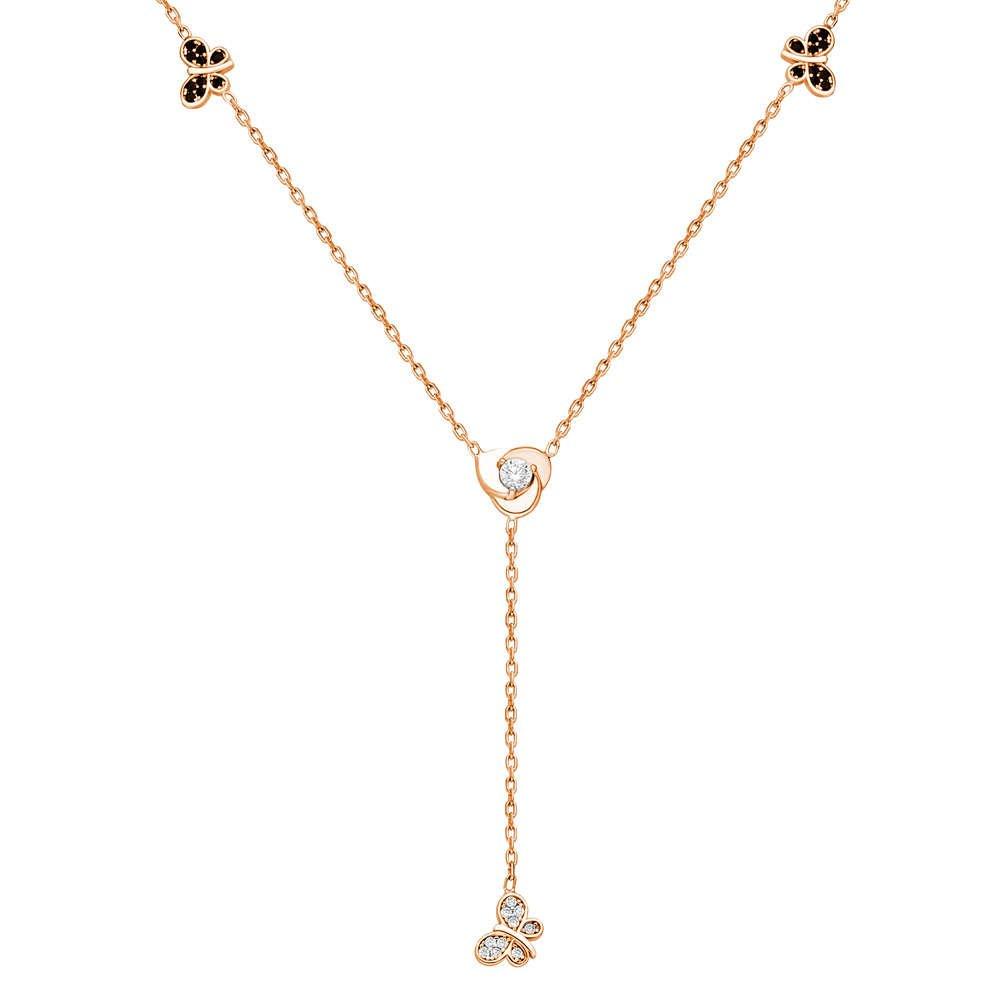 Zirkon Taşlı Kelebek Tasarım Rose Renk 925 Ayar Gümüş Şans Kolyesi
