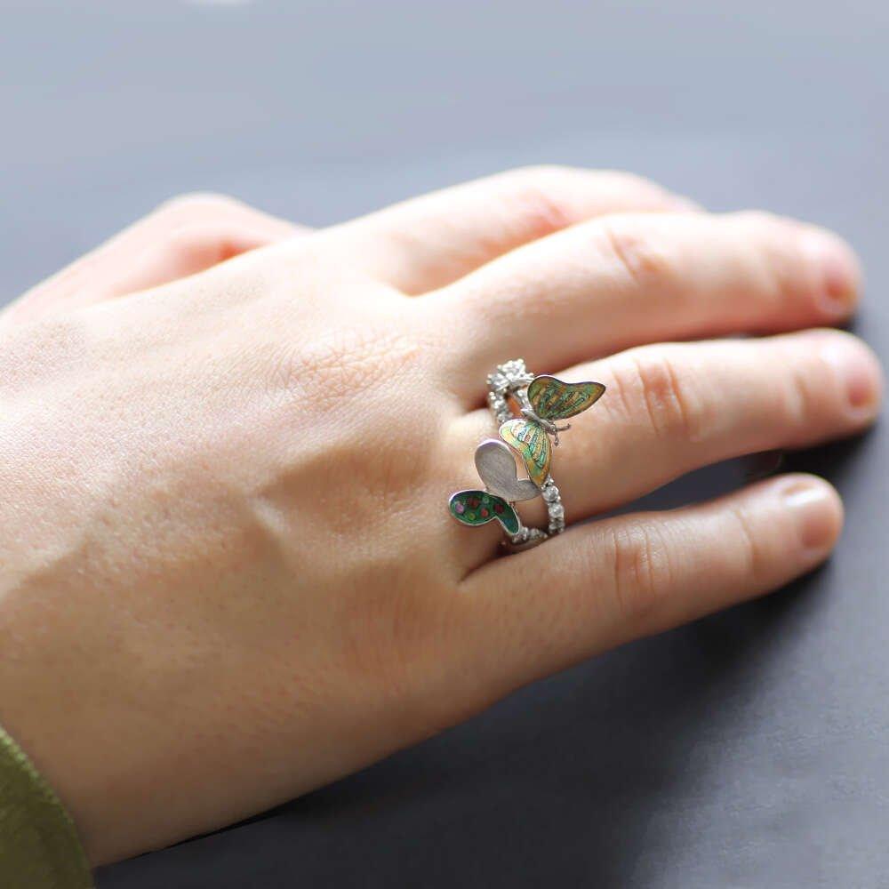 Zirkon Taşlı Kelebek-Uğur Böceği Temalı 925 Ayar Gümüş Bayan Yüzük